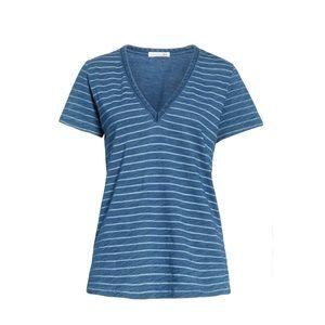 NWT Rag & Bone The Vee Indigo Bleach Stripe Shirt